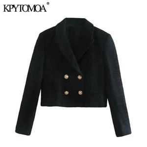 KPytomoa Mulheres 2020 Moda Dupla Breasted Tweed Cropped Blazer Casaco Vintage Bolsos de Manga Longa Feminino Outerwear Chique Tops LJ201214