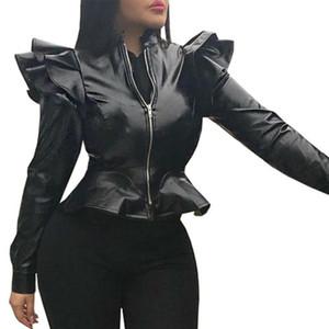Katı Renk Faux Deri Mont Kadınlar Bahar Fermuar Ceketler Seksi Slim Fit Ceket Streetwear 2021 Moda Ruffles Giyim D30