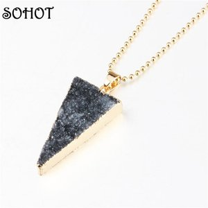 SOHOT Bohemia Natural Druzy Natural Stone Triangle Pendant Necklace Gold Color Long Metal Chain Maxi Jewelry Bijoux for Women