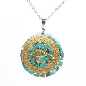 Venta al por mayor 10 PCS Ojo chapado en oro de Horus Tourmaline Piedra y resina Colgante redondo Colgante Orgonita Collar Verde Turquesa Joyería