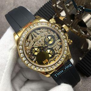 N9 Top Versão 116588 TBR Full Diamond Dial Rose Gold Diamond Bezel ETA7750 Movimento Mecânico Automático Mens Relógio de Borracha Relógios