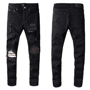 Mens Jeans Classic Hip Hop Pants Stylist Jeans Distressed Ripped Biker Jean Slim Fit Motorcycle Denim Jeans 4015