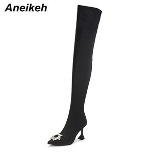 Aneikeh Size 41 42 NEW Sun Flower Rhinestone Stretch Fabric Over-the-Knee Boots Women Shoes Pointed End High Heels Fashion PumpsZ1204
