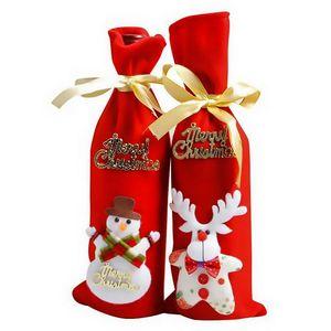 Christmas Wine Bag Decor Set Santa Claus Snowman Deer Bottle Cover Clothes New Year Christmas non-woven fabric wine set