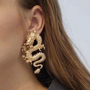 Female Unusual Dangle Earring Dragon Long Drop Earrings for Women High-grade Metal Personality Pendant Unique Temperament Jewelry Party Gift
