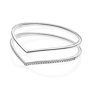 Original 925 Sterling Silver Shimmering With Crystal pan Bracelet Bangle Fit Bead Charm Fashion Jewelry F1205