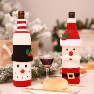 Christmas Ornaments Red Wine Bottle Bag Elastic Knitted Christmas Decorations Wine Bottles Bags Cartoon Santa Bottles Storage Bag HWD3209