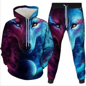 The new 3D hoodie men's hoodie line of hot-selling wolves suits wear a two-piece suit printed with hip hop men's wear