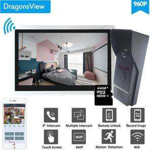 Système d'interphone vidéo DRAGONSVIEW WIFI Système d'interphone de 10 pouces SANS SANS SANDPELL Caméra Smart Android ISO Téléphone mobile ISO 960P