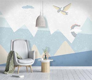 Bacal custom large 3D wallpaper mural Nordic hand-painted cartoon blue dinosaur world children's room background wall