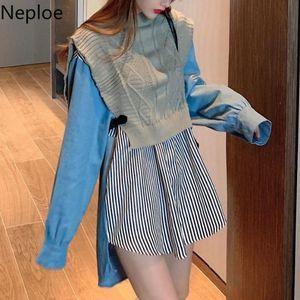 Neploe Patchwork Knit Blouse Women Blusas Mujer De Moda 2020 Vintage Fake Two Shirt Korean Chic Blouses Mid-length Tops 4F747