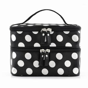 Black Travel Cosmetics Make Up Bags Beauty Womens Organizer Withing Purse Bolso Polka Dots Design Gift1