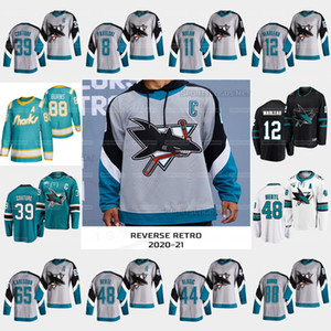 39 Logan Couture San Jose Sharks 2021 Reverse Retro 30 주년 기념 유니폼 Patrick Marleau Brent Burns Joe Thornton Tomas Hertl Karlsson