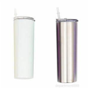 Sublimation Tumblers Solid Slim Cup Stainless Steel Mugs Skinny Straight Cups Coffee Milk Vacuum Water Bottle Mug With Lid 20oz OWA1093
