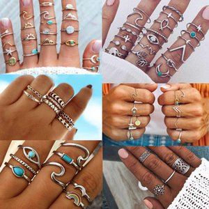 Mix Design Bohemia Wave Rainbow Eye Moon Ring Set Vintage Ethnic Leaf Carved Knuckle Finger Midi Rings for Women Boho Jewelry