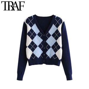 TRAF Women Cardigan Vintage con estilo geométrico Patrón geométrico Corto Suéter de punto Moda Manga larga Inglaterra Estilo Outerwear Chaqueta 201211