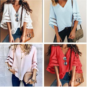 2019 new summer loose large size womens t shirt top casual V neck mesh stitching trumpet sleeves Solid womens clothing tops