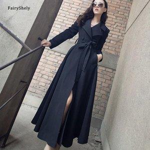 Fairyshely Kore Moda Siper 2021 Kadın Sonbahar Kış Yeni Siyah Sıcak Artı Boyutu Kadın Uzun Bölüm Ceket Ofis Lady Kemer 3XL