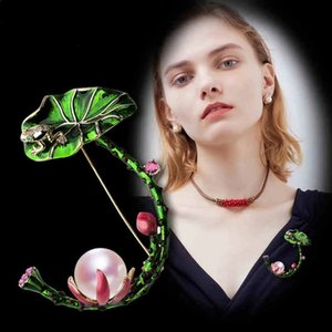 Green Lotus Leaves Flower Brooches For Women Vivid Enamel Simulated Pearl Animal Hat Bag Suit Accessories