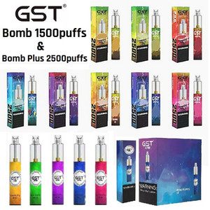 Authentic GST Bomb Plus Dispositivo de vaina desechable 1000mAh 1200mAh 5ml 7ml 1500 2500 Puffs Vape Stick System for Gas Tank GTD KP Razzo