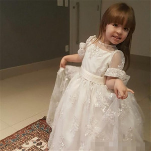 Flower Girls Dresses Short Sleeves Girl Pageant Dress Beads First Communion Gowns With Big Bow Back