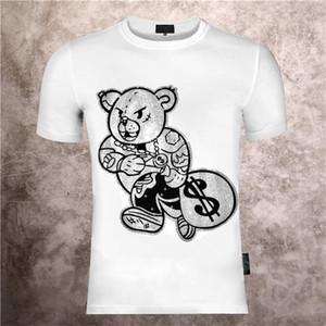 Gola redonda dos homens Impresso Phillip Plain Bear Teddy Cartoon Personalidade Quente Diamante Imprimir Verão Slim Manga Curta T-shirt
