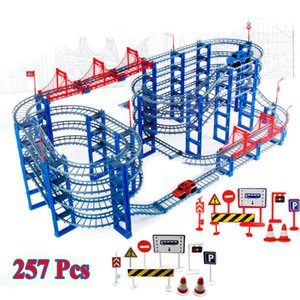 257pcs DIY Track Car Diecasts Toy Vehicles Rail Car Road Assembled Educational Toys for Chilren Z1124
