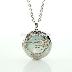 Souvenirs gift jewelry elegant and charming winter style Vintage Handcrafted Jamaica map jewelry your finish choiceN886