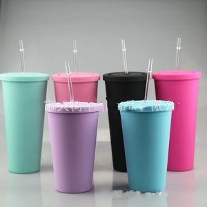 16oz Candy Color Cup Cup Matte Acrílico Doble Taza Taza Plana Cubierta Plana Paja Cosa Plástica Portátil Multicolor Portátil 10DS G2