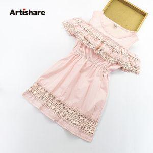 Artishare Kız Elbise Kapalı Omuz Çocuklar Kolsuz Prenses Elbise Teenage Dantel Kız Giysileri 6 8 10 12 Çocuk Sundress1