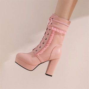 PXELENA Elegant NEW Ruffles Women Wedding Boots White Pink High Heels Bride Shoes Lace Up 2020 Dress Party Lady Large Size 34-45