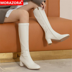 2020 Big size 33-43 winter knee high boots thick heels square toe ladies shoes fashion simple women boots black white210