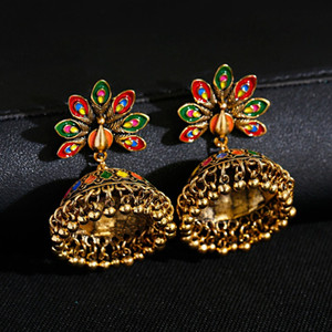 Gold Color Peacock Earrings For Women Bells Beads Pendant Dangling Earring Drop Ethnic Boho Style Ear Rings For Girls