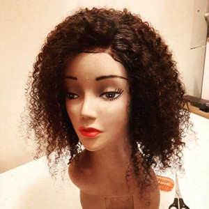 Indian Kinky Curly Short Bob Wigs 180Density Silk Top Full Lace Human Hair Wigs with Baby Hair Pre Plucked Full Lace Wigs Remy