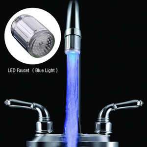 LED Shower Water Faucet Stream Light Nozzle Head W Blue Light for Kitchen Pressure Sensor Bathroom Faucets Taps Accessory