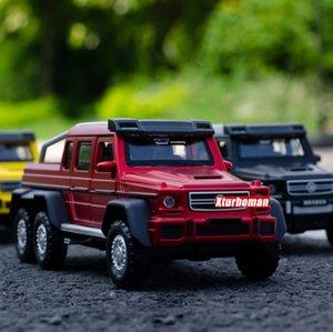 Горячие 1:32 Масштабные колеса Diecast Автомобиль Benz Brab G63 6x6 Пикап Грузовик Металлическая Модель С Легковым Звуковым Узкой Назад Автомобиль Игрушка Коллекция Q1217