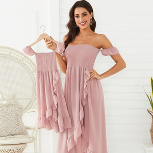 Mother Daughter Dress Ruffle Family Matching Dresses Off Shoulder Mom And Daughter Matching Clothes Summer Mommy And Me Clothes Y1215