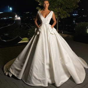 Elegant Wedding Dresses 2021 Latest V-Neck A-line Bridal Dress Bridal Gowns Sweep Train Satin Backless Bows Pockets Pearls
