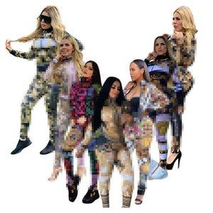 Veste de la mode Cardigan Costume Slim Zipper Femme Tracksuits Lettre Impression d'automne Sports de sport Ensemble de loisirs Jogging Two Piece Set