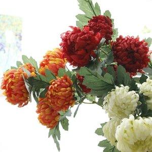 10 قطع الحرير الأناناس أقحوان 5 رؤساء محاكاة وهمية gerbera لل زفاف ديكور المنزل الزهور الاصطناعية