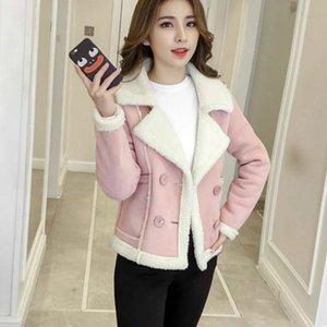 Woman Short Faux Wool Lamb 2020 Autumn Winter New Pink Fur biker Jacket Female Outerwear spring Suede Coat