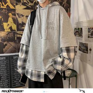 Мужские толстовки для толстовки PR-корейские мужчины, плед негабаритных мужчин повседневная свободная мода с капюшоном проверены пуловеры