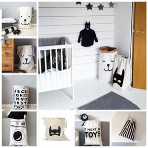INS Laundry Storage Bags Baby Toys Cartoon Home Organization Plus Size Bear Laundry Drawstring Bags Foldable Clothing Organizer LXL649-1