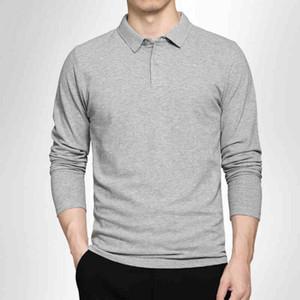 Polo Gömlek Erkekler 2020 Bahar Nefes Pamuk Polo Gömlek Erkekler Uzun Kollu Rahat Camiseta Masculinas Artı Boyutu Polos Kazak Y1120