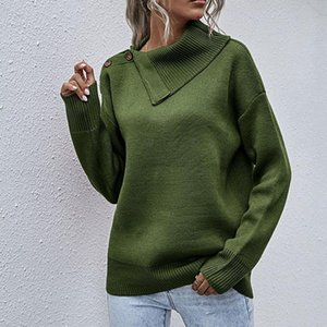 Side Lapel Knit Pullover Womens Winter Sweaters Shoulder Button Half Open Neck Casual Sweater Lady Plus Size XL Jumper