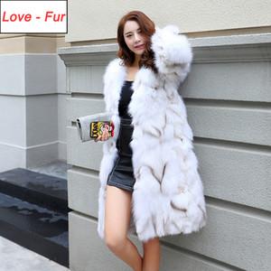 2020 Women New Fashion Coat Autumn Winter Casual Real Overcoat Genuine Coats Long Style Fox Fur Jacket
