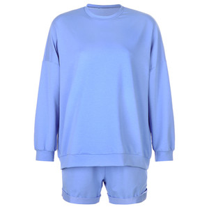 Womens Tracksuits Sweet Cute Girl O-Neck Sweatshirts and Shorts Two Piece Set Autunm New Female Playsuit Solid color