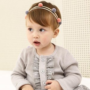 Novelty Pom Pom Headband Fairy Elastic Hair Bands Princess Kid Girls Graceful Stretch Sweet Cute Round Ball Hairbands headdress