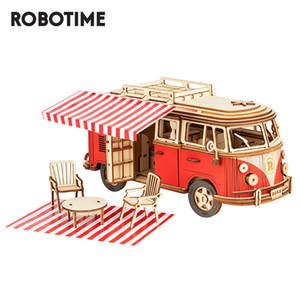 Robotime rokr camper van bloco de madeira puzzle modelo de carro brinquedos para crianças crianças mcb01 q1119