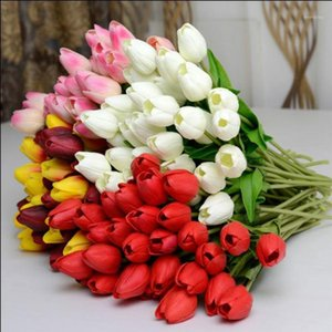 10 adet Gerçek Dokunmatik PU Tulip Yapay Çiçek Mavi Beyaz Düğün Ev Dekorasyon Yapay Buket Dekoratif Çiçekler1